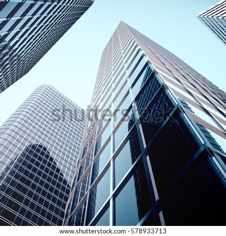 Skyscrapers with blue glass, high rise building, skyscrapers, business concept of successful industrial architecture, 3d rendering #578933713