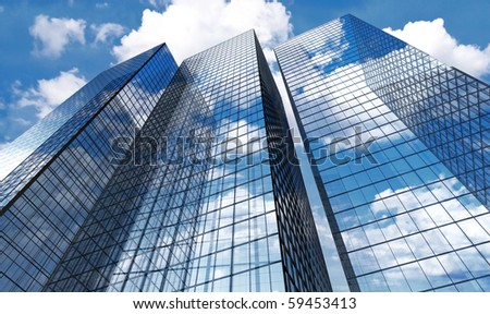 Skyscrapers with clouds reflection
