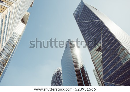 Skyscrapers with glass facade. Modern buildings in Paris business district. Concepts of economics, financial, future.  Copy space for text. Dynamic composition #523931566