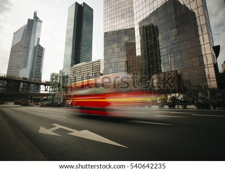 Skyscrapers with glass facade. Modern buildings in Paris business district. Concepts of economics, financial, future. Copy space for text. Dynamic composition #540642235