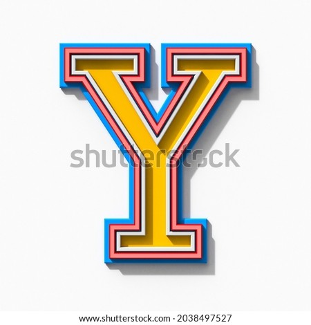 Slab serif colorful outlined font with shadows Letter Y 3D rendering illustration isolated on white background Zdjęcia stock ©