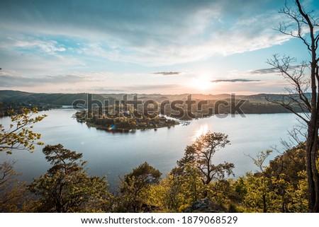 Slapy dam on Vltava river. Water reservoir and famous tourist place in Czech republic, European Union. Summer sunset. Stock photo ©
