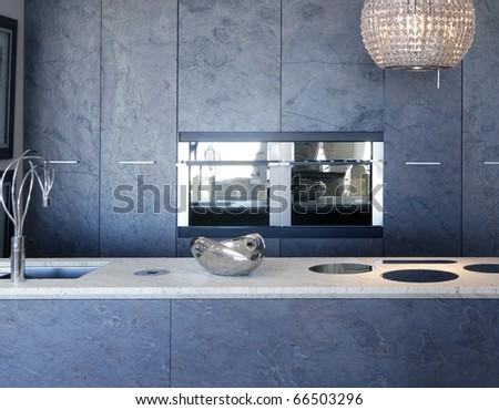 slate stone kitchen furniture marble bench integrated vitroceramic stove