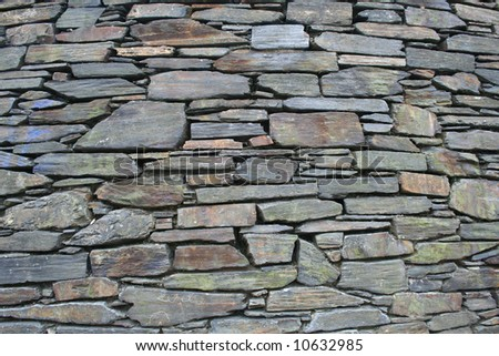 Slate Stone wall background, old facade architecture