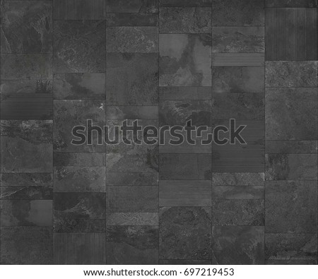 Slate tile ceramic, seamless texture dark gray map for 3d graphic.