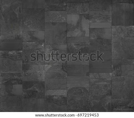 Slate tile ceramic, seamless texture dark gray map for 3d graphic.