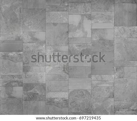 Slate tile ceramic, seamless texture light gray map for 3d graphic.
