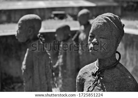 Slave Chambers in Zanzibar, Tanzania Foto stock ©