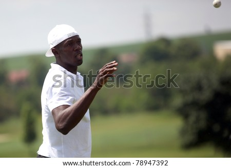 SLAVKOV U BRNA, CZECH REPUBLIC - MAY 29: Jamaica's sprinter Usain Bolt starts the golf tournament of celebrities in Slavkov u Brna, Czech Republic on May 29, 2011.