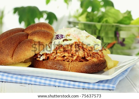 Slaw burger with whole wheat buns, fries and salad. Extreme shallow depth of field. - stock photo