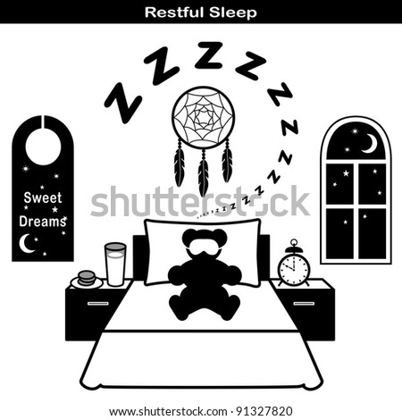 Sleep Icons: Teddy bear with sleep mask, comfortable bed, pillow, snore, dream catcher, milk and cookies snacks, starry night window with moon and stars, sweet dreams door hanger.