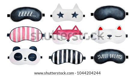 Sleep masks set. Classic black, striped, with sleepy text (zzzzz; sweet dreams), star, animal shaped loungewear; top, above view. Hand painted watercolour drawing on white background, cutout clip art.