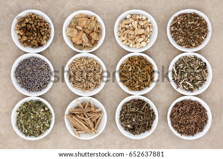 Sleeping and calming herb selection in china dishes on natural hemp paper background.