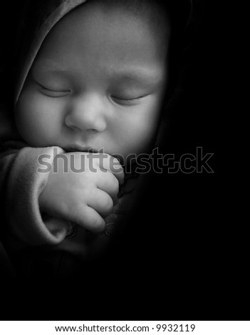 sleeping baby with thumb in the mouth, black and white, baby arm, baby, boy, sleeping baby, baby finger, baby nose, baby eye, baby cheek, cute baby, young child, newborn, small baby