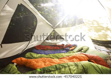 Sleeping bags lined up in a tent full of sleeping bags