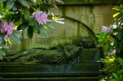 Sleeping beauty! Cemetery statue. Quote