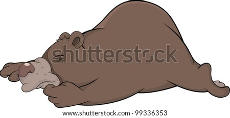 Sleeping brown bear. Cartoon
