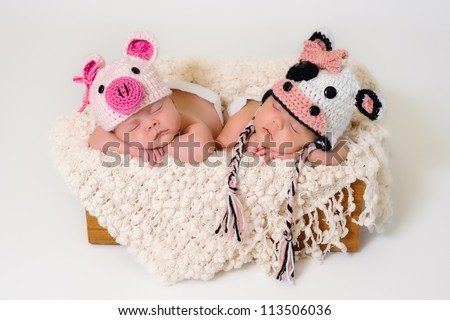 Sleeping fraternal twin newborn baby girls wearing crocheted pig and cow hats.