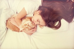 Sleeping girl with cat in retro style