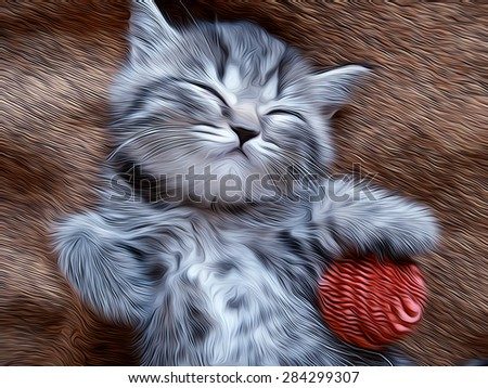 Sleeping little kitty with a pink striped ball in his paws