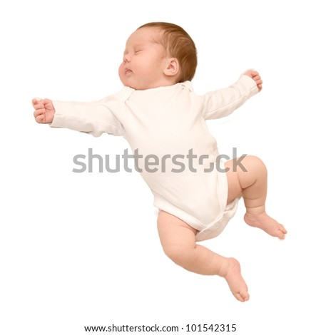 Sleeping newborn baby girl. Child wearing in a white body, ready for your logo or symbol. Isolated on white background