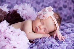 Sleeping newborn baby girl with pink flower headband lying on purple blanket.
