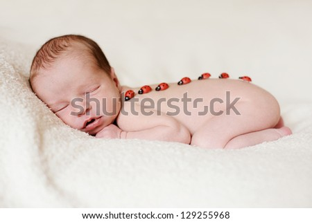 sleeping newborn with ladybird on the back