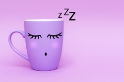 Sleeping purple coffee cup against purple background. Sweet dreams and good night, weekend concept. Minimalism style, front view, copy space.