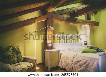 sleeping room interior of villa in Italian style