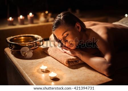 Sleeping woman in beauty spa