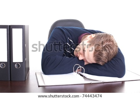 Sleeping young businessman, isolated on white background - stock photo