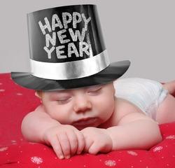 Sleepy new year baby