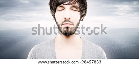 sleepy person with eyes closed on a fantasy background