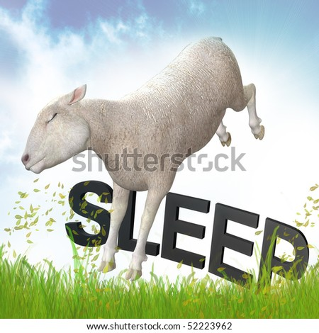 Sleepy sheep or lamb illustration