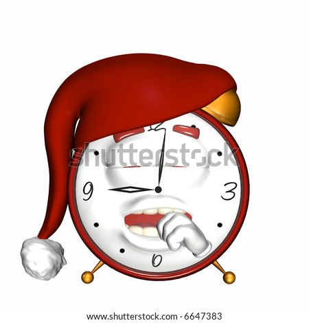 Sleepy Smiley Alarm Clock. A smiley alarm clock wearing a night cap and yawning. Isolated on a white background