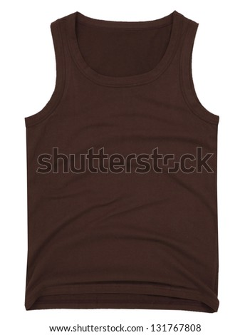 Sleeveless unisex brown shirt isolated on white background