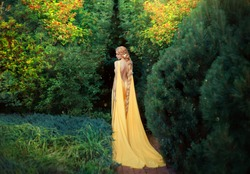 Slender beauty in elegant bright dress with stretching trains goes to thick of magical garden, golden elf princess with bare trimmed seductive back golden long light braided hair looks at her plants.