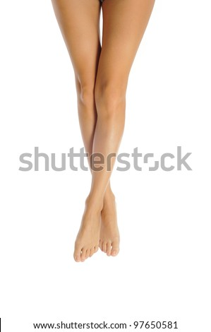 slender healthy female legs isolated on white background