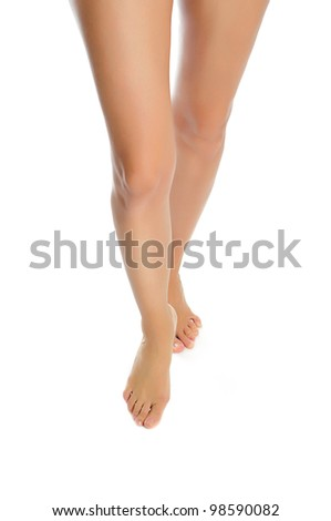 slender healthy female legs isolated on white background