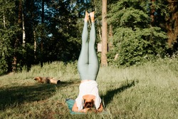 Slender young woman practicing yoga asana headstand back view, outdoors. Sportive girl exercising on a yoga mat in nature in the morning, outside. Healthy active lifestyle concept.