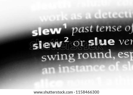 slew word in a dictionary. slew concept.