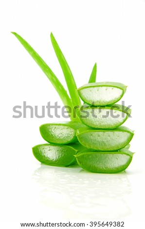 Slice Aloe Vera (Aloe barbadensis Mill.,Star cactus, Aloe, Aloin, Jafferabad or Barbados) a very useful herbal medicine for skin care and hair care. #395649382