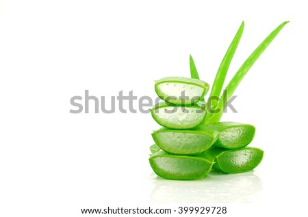 Slice Aloe Vera (Aloe barbadensis Mill.,Star cactus, Aloe, Aloin, Jafferabad or Barbados) a very useful herbal medicine for skin care and hair care. #399929728