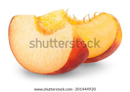 slice apricots isolated on white background. Clipping Path