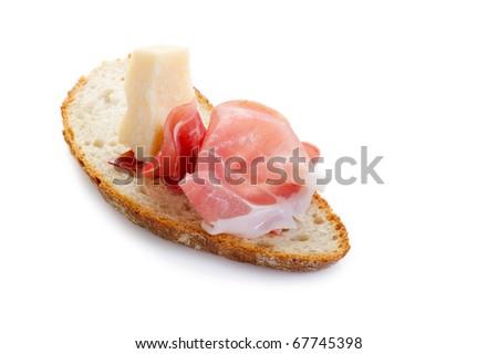 slice bread with parma ham and grana