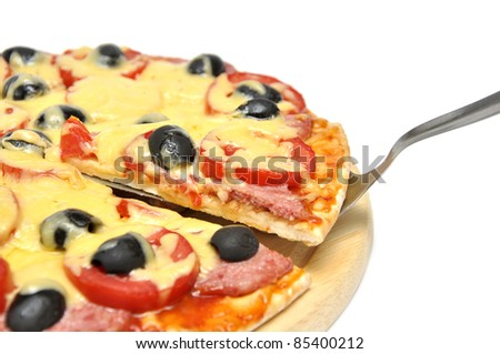 slice-lifted pizza with olives, tomato and salami