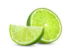 slice lime isolated on white background full depth of field