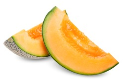 slice melon isolated on white, melon clipping path