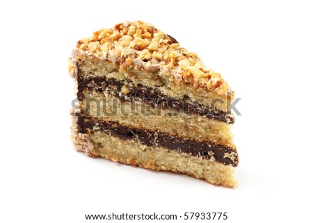 Slice of almond chocolate cake isolated over white background.