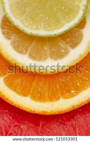 Slice of an orange close up